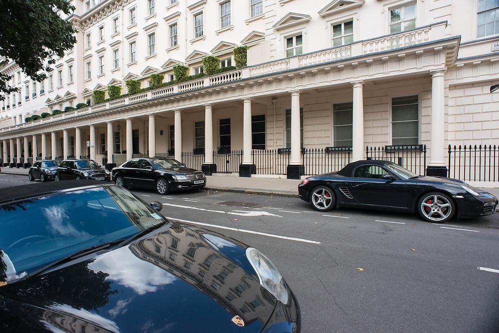 London, 19/08/2017: Luxury cars in Belgravia Square.© Andrea Sabbadini