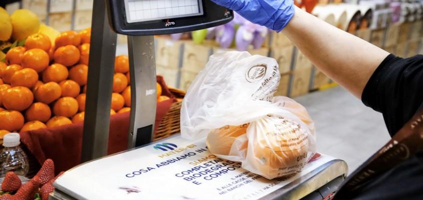 I sacchetti di plastica biodegradabile