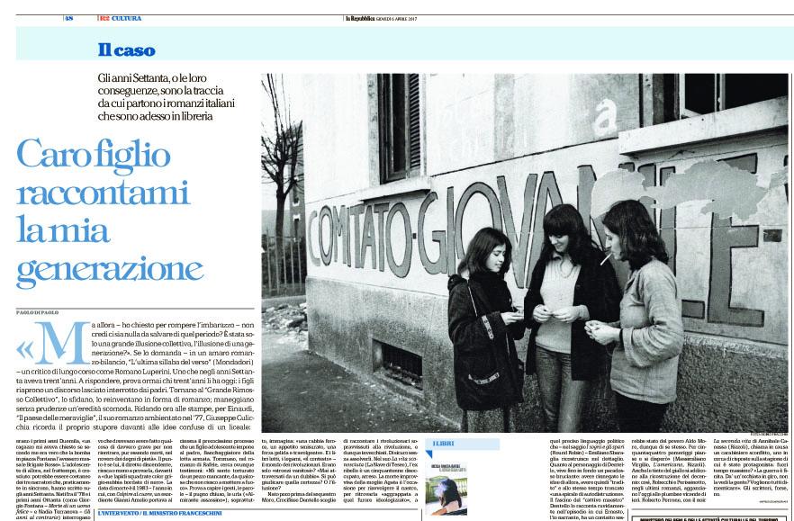 Dino Fracchia su LA REPUBBLICA