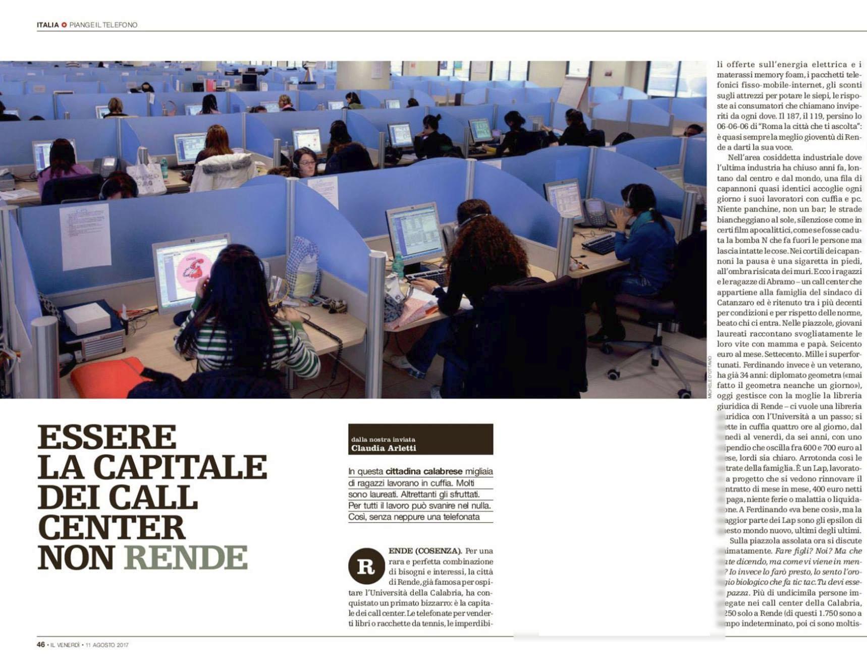 Michele D'Ottavio su IL VENERDI' di Repubblica